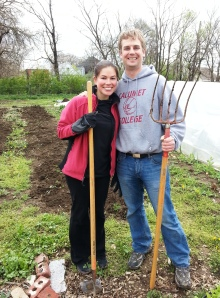 Sam and I volunteered at Four Seasons City Farm for Earth Day - this was my first time using a pitch fork. :)