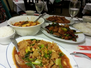 Homestyle squid, sauteed pork intestine, mapo tofu, and spicy pork at Fortune Szechuan Restaurant.