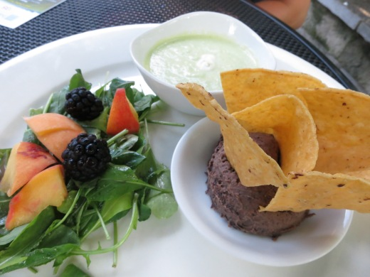 Black bean hummus, arugula salad with fruit and a sangria vinaigrette, and a chilled spicy cucumber soup
